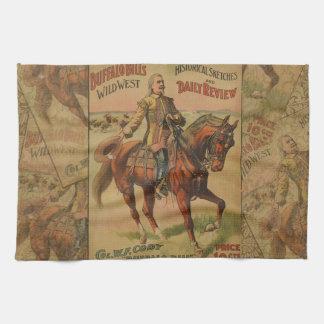 Vintage Western Buffalo Bill Artwork Illustration Kitchen Towel