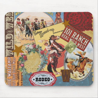 vintage western collage mousepad