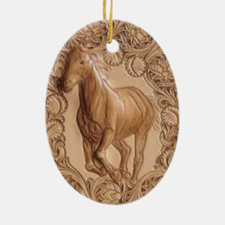 vintage western country leather horse ceramic ornament