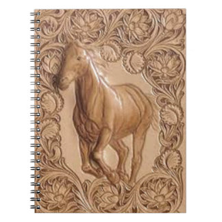 vintage western country leather horse spiral notebook