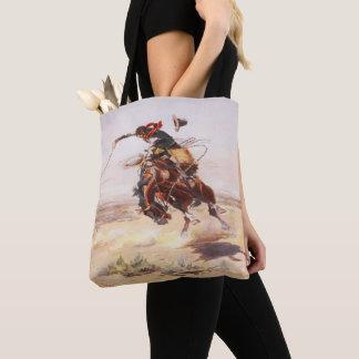 Vintage Western Cowboy Bronc Rider  Wild HOrse Tote Bag