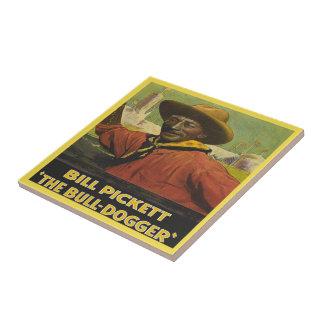 Vintage Western Cowboy Bull Dogger Tile