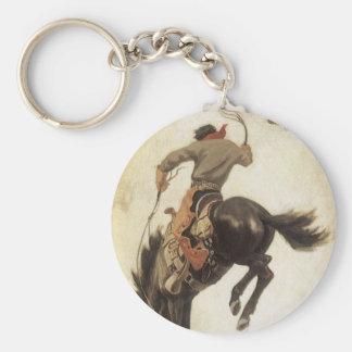 Vintage Western, Cowboy on a Bucking Bronco Horse Basic Round Button Keychain