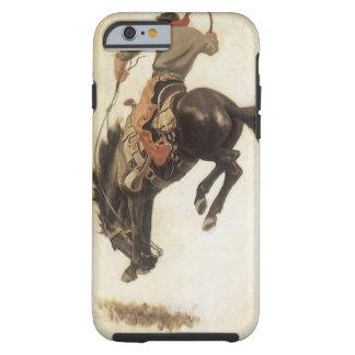 Vintage Western, Cowboy on a Bucking Bronco Horse Tough iPhone 6 Case