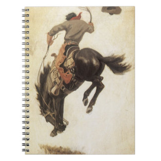 Vintage Western, Cowboy on a Bucking Bronco Horse Notebook