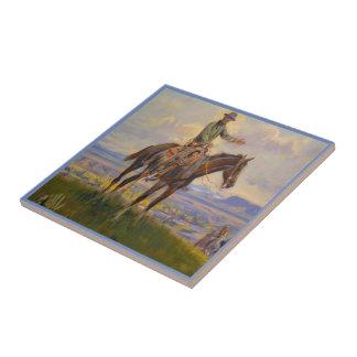 Vintage Western Cowboy On Horse Tile