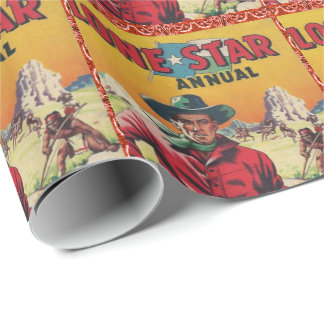 Vintage Western Cowboy Poster Print Lone Star Wrapping Paper