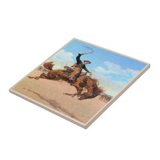 Vintage Western Cowboy Riding Wild Bucking Horse Tile