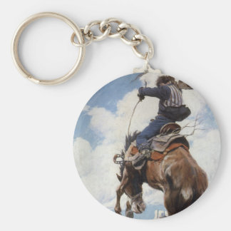 Vintage Western Cowboys, Bucking by NC Wyeth Basic Round Button Keychain
