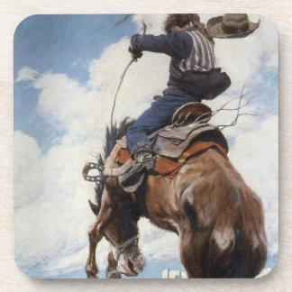 Vintage Western Cowboys, Bucking by NC Wyeth Coaster