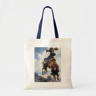 Vintage Western Cowboys, Bucking by NC Wyeth Tote Bag