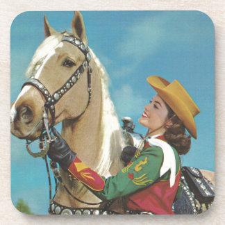 Vintage Western Cowgirl and Palomino Horse Coaster