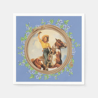 Vintage Western Cowgirl Horse With Rope Flowers Napkin