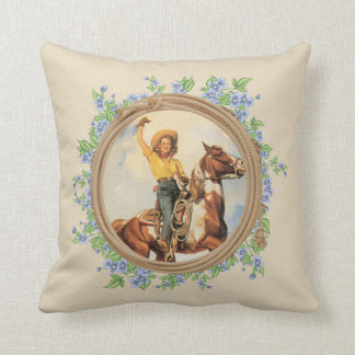 Vintage Western Cowgirl Horse With Rope Flowers Throw Pillow