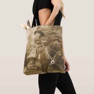 Vintage Western Cowgirl Kid On Horse Tote Bag