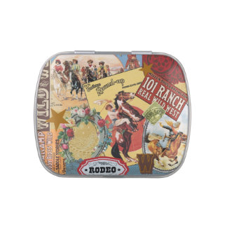 vintage western cowgirl mint tin can
