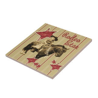 Vintage Western Cowgirl On Horse Rodeo Star 1 Tile