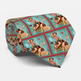 Vintage Western Cowgirl On Wooden Horse LG print Tie