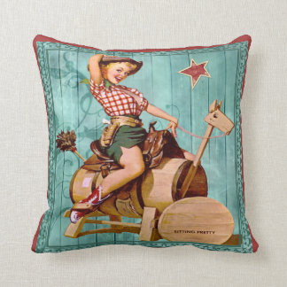 Vintage Western Cowgirl On Wooden Horse Throw Pillow
