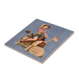 Vintage Western Cowgirl On Wooden Horse Tile