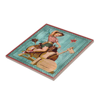 Vintage Western Cowgirl On Wooden Horse Turquoise Tile