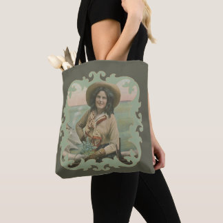 Vintage Western Cowgirl Portrait With Border Tote Bag
