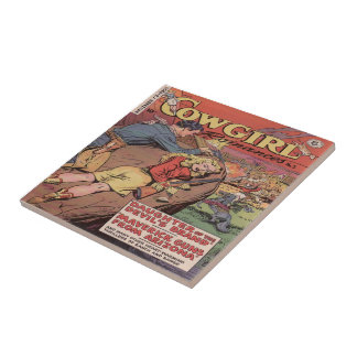 Vintage Western Cowgirl Roamce Tile