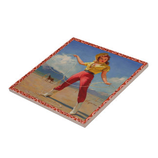 Vintage Western Cowgirl With Rope Tile