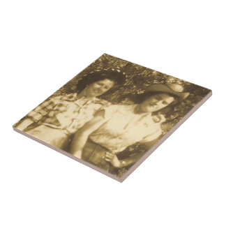 Vintage Western Cowgirls Photo Tile