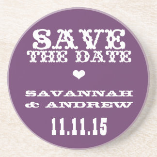 Vintage Western Font Save the Date Gifts Drink Coaster