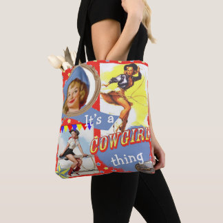 Vintage Western Girls It's a Cowgirl Thing Tote Bag