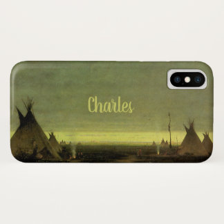 Vintage Western, Indian Camp at Dawn by Tavernier iPhone X Case
