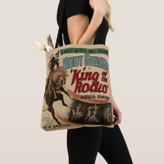 Vintage Western King of The Rodeo Bronc  Rider Tote Bag