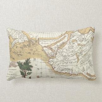 Vintage Western North America & Pacific Ocean Map Lumbar Pillow