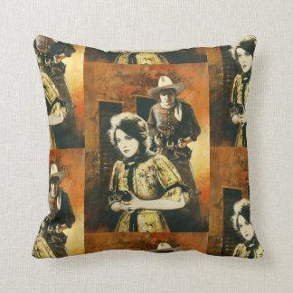 Vintage Western Square Throw Cushion. Throw Pillow