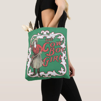 Vintage Western The Cowboy Girl With Rope Tote Bag