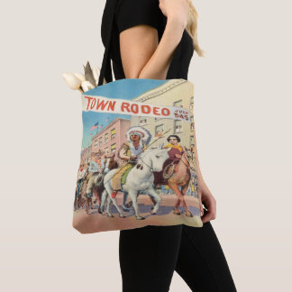 Vintage Western Town Rodeo Parade Tote Bag