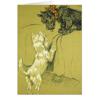 Vintage - Westie and Scotty Dogs, Card