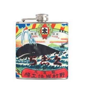 Vintage Whale Meat Can Label Hip Flask