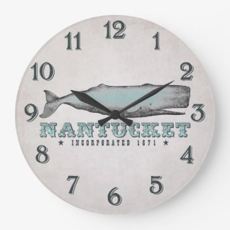 Vintage Whale Nantucket Massachusetts Inc 1671 Large Clock