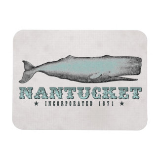 Vintage Whale Nantucket Massachusetts Inc 1671 MA Rectangular Photo Magnet