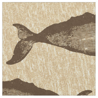Vintage Whale Pattern Brown Fabric