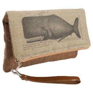 Vintage Whale Script burlap rustic trendy Clutch