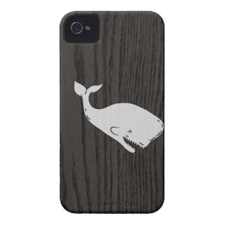 Vintage Whale Sketch On Woodgrain Case-Mate iPhone 4 Cases
