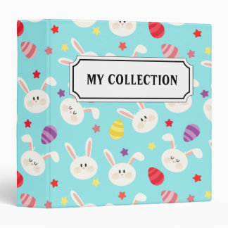 Vintage whimsical bunny and egg turquoise pattern 3 ring binders