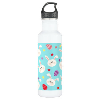 Vintage whimsical bunny and egg turquoise pattern 710 ml water bottle
