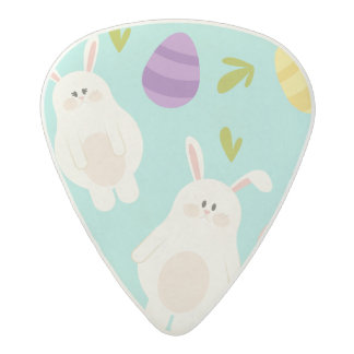 Vintage whimsical bunny and egg turquoise pattern acetal guitar pick