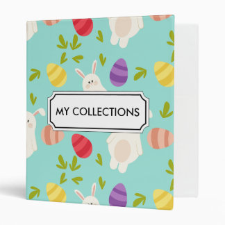 Vintage whimsical bunny and egg turquoise pattern binders