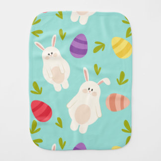Vintage whimsical bunny and egg turquoise pattern burp cloth