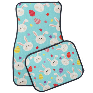 Vintage whimsical bunny and egg turquoise pattern car mat